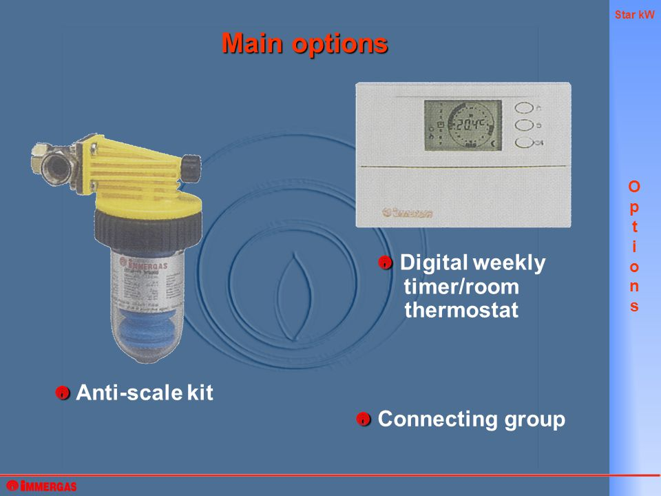 Star kW Main options OptionsOptions Connecting group Digital weekly timer/room thermostat Anti-scale kit
