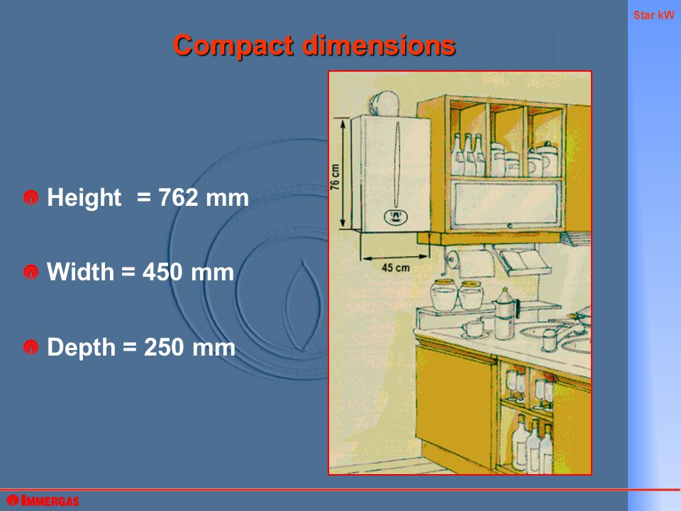 Star kW Height = 762 mm Width = 450 mm Depth = 250 mm Compact dimensions