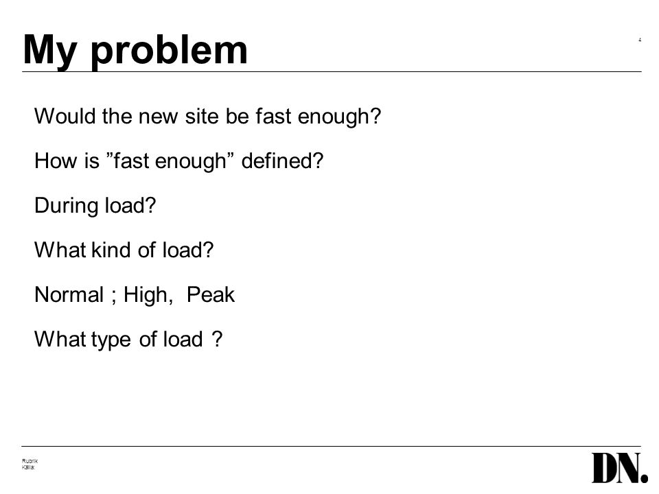 4 Rubrik Källa: My problem Would the new site be fast enough.