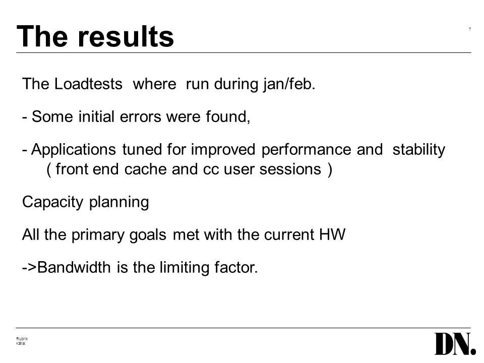 7 Rubrik Källa: The results The Loadtests where run during jan/feb.