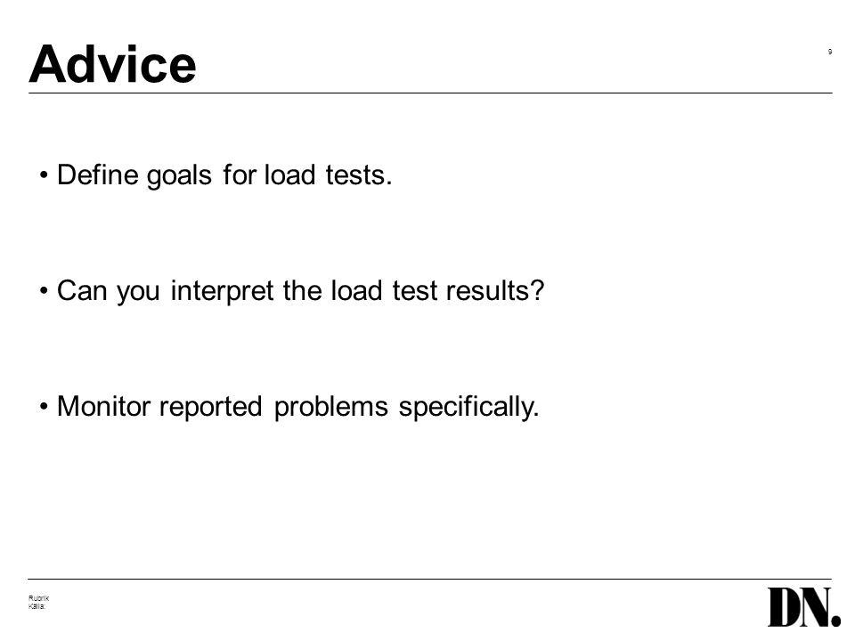 9 Rubrik Källa: Advice Define goals for load tests.
