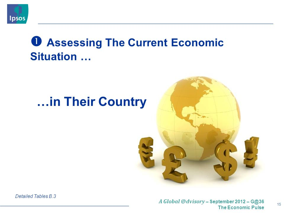 15 A Global @dvisory – September 2012 – G@36 The Economic Pulse  Assessing The Current Economic Situation … Detailed Tables B.3 …in Their Country