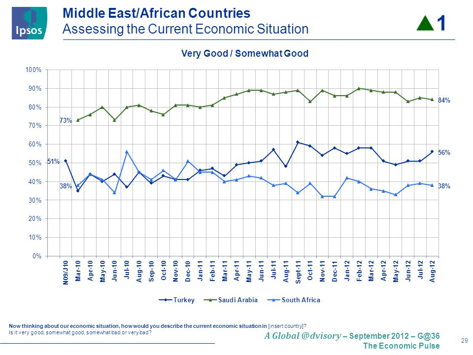 29 A – September 2012 – The Economic Pulse Middle East/African Countries Assessing the Current Economic Situation Now thinking about our economic situation, how would you describe the current economic situation in [insert country].