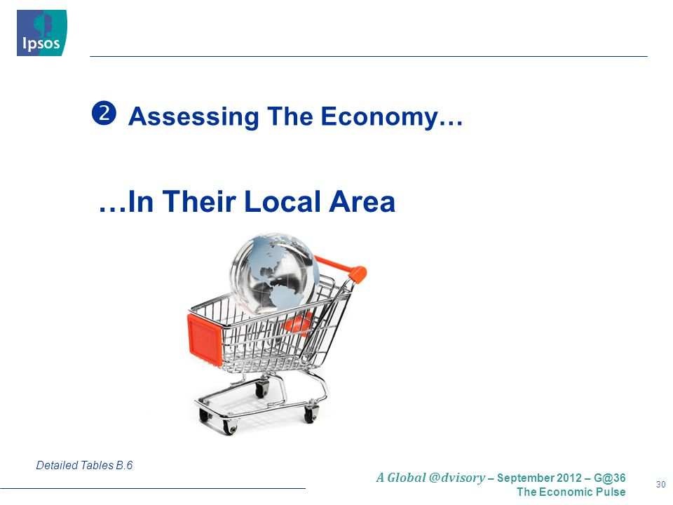 30 A Global @dvisory – September 2012 – G@36 The Economic Pulse  Assessing The Economy… Detailed Tables B.6 …In Their Local Area