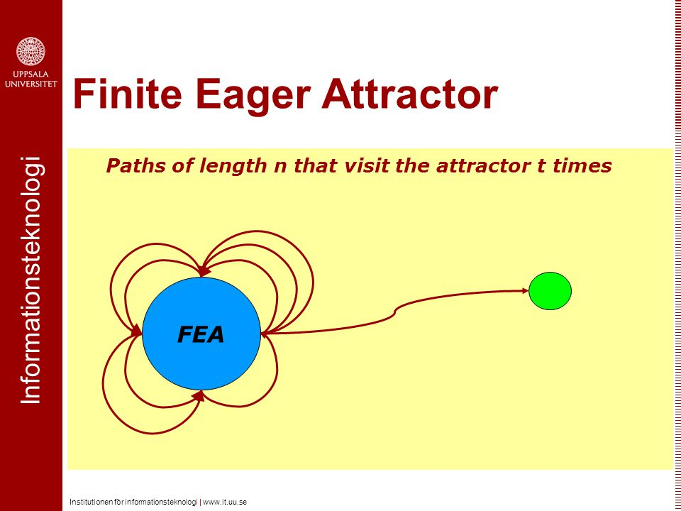 Informationsteknologi Institutionen för informationsteknologi |   Finite Eager Attractor FEA Paths of length n that visit the attractor t times