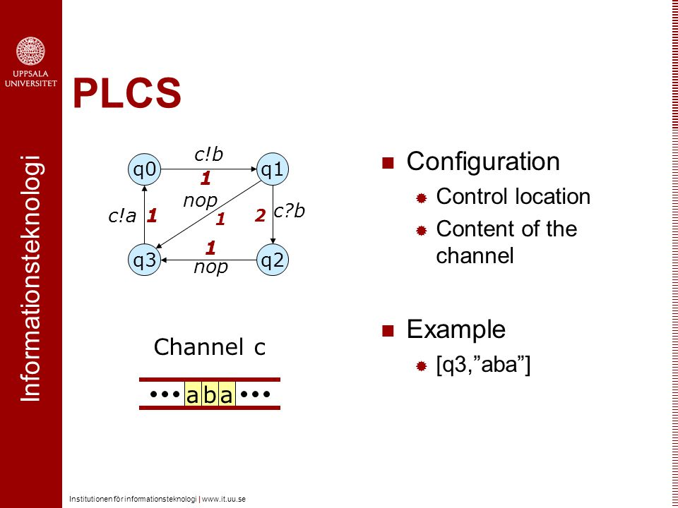 Informationsteknologi Institutionen för informationsteknologi | www.it.uu.se PLCS Configuration  Control location  Content of the channel Example 
