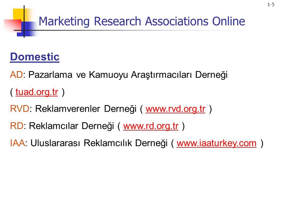 1-5 Domestic AD: Pazarlama ve Kamuoyu Araştırmacıları Derneği ( tuad.org.tr )tuad.org.tr RVD: Reklamverenler Derneği ( www.rvd.org.tr )www.rvd.org.tr RD: Reklamcılar Derneği ( www.rd.org.tr )www.rd.org.tr IAA: Uluslararası Reklamcılık Derneği ( www.iaaturkey.com )www.iaaturkey.com Marketing Research Associations Online
