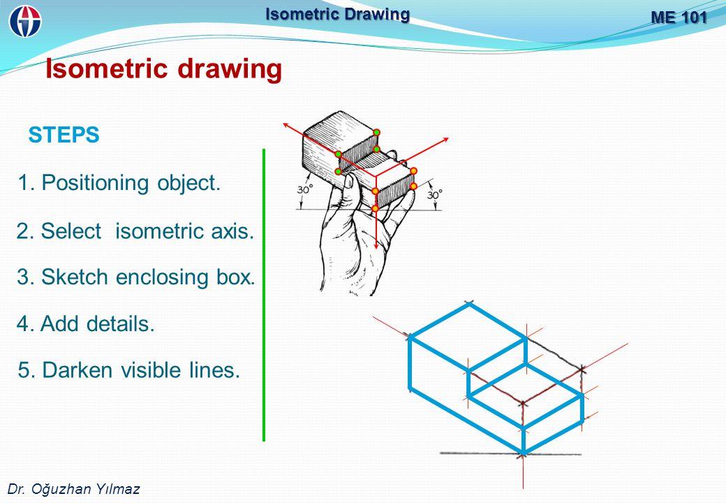 ME 101 Dr.Oğuzhan Yılmaz Isometric Drawing Isometric drawing STEPS 1.