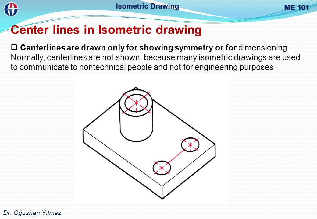 ME 101 Dr. Oğuzhan Yılmaz Isometric Drawing Center lines in Isometric drawing  Centerlines are drawn only for showing symmetry or for dimensioning. N
