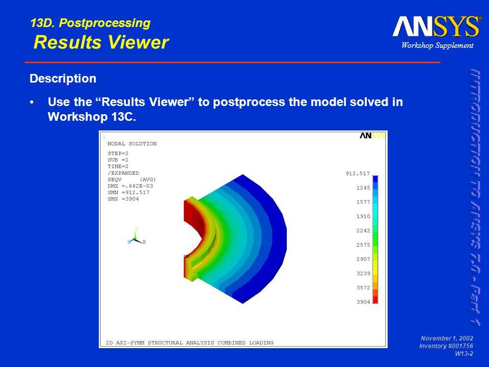 Workshop Supplement November 1, 2002 Inventory #001756 W13-23 13E.