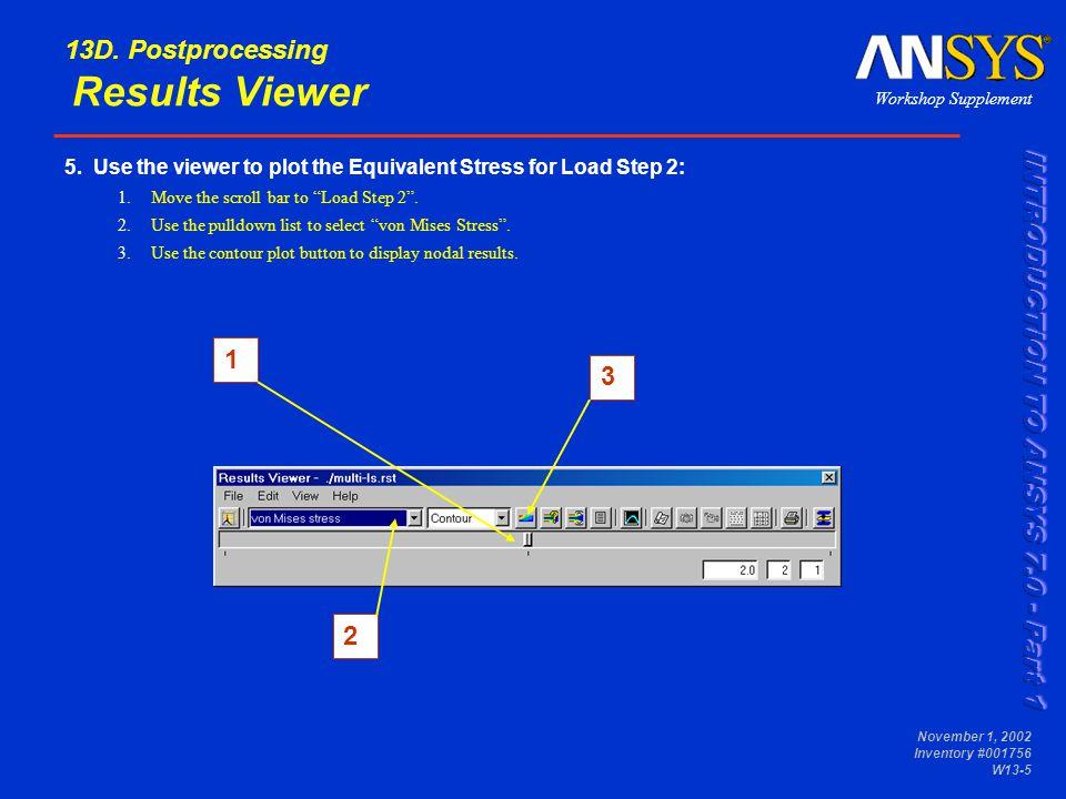 Workshop Supplement November 1, 2002 Inventory #001756 W13-16 13E.