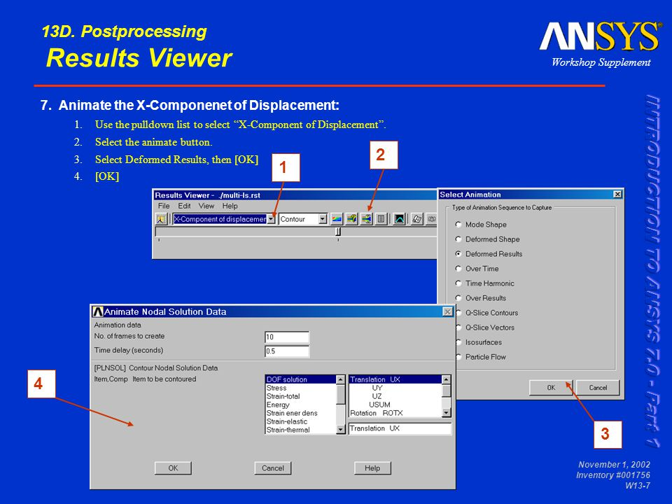 Workshop Supplement November 1, 2002 Inventory #001756 W13-8 13D.