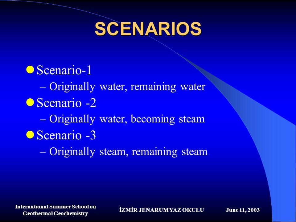 İZMİR JENARUM YAZ OKULUJune 11, 2003 International Summer School on Geothermal Geochemistry SCENARIOS Scenario-1 –Originally water, remaining water Sc