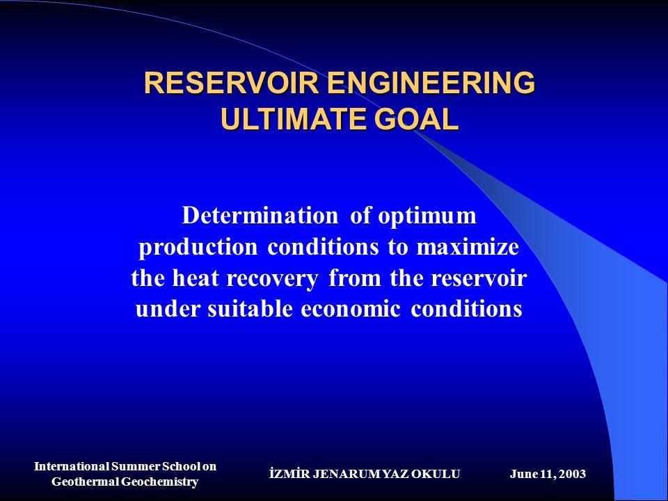 İZMİR JENARUM YAZ OKULUJune 11, 2003 International Summer School on Geothermal Geochemistry RESERVOIR ENGINEERING ULTIMATE GOAL Determination of optim