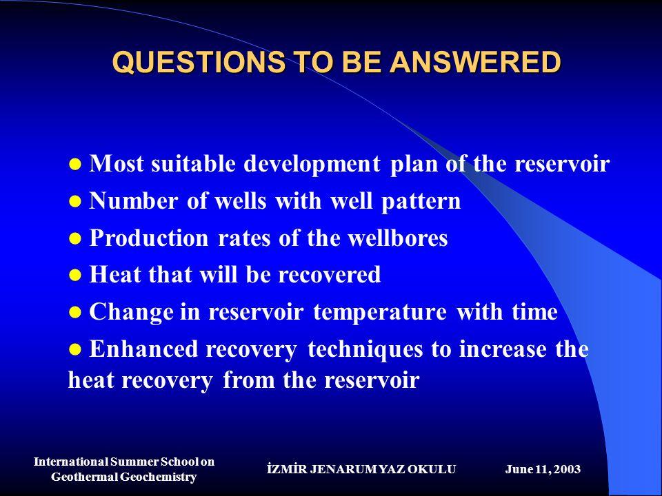 İZMİR JENARUM YAZ OKULUJune 11, 2003 International Summer School on Geothermal Geochemistry QUESTIONS TO BE ANSWERED Most suitable development plan of