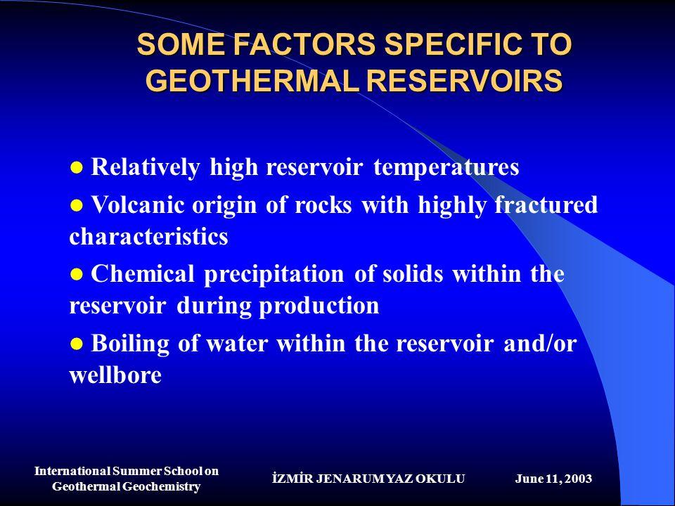 İZMİR JENARUM YAZ OKULUJune 11, 2003 International Summer School on Geothermal Geochemistry SOME FACTORS SPECIFIC TO GEOTHERMAL RESERVOIRS Relatively