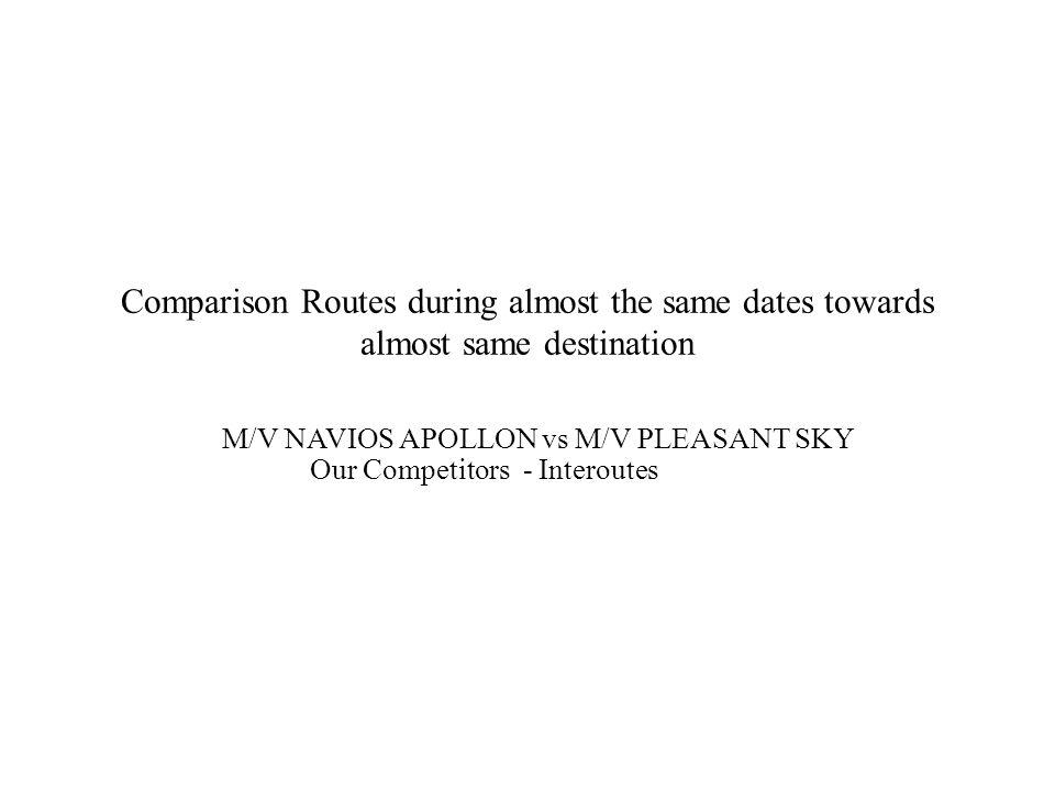 Comparison Routes during almost the same dates towards almost same destination M/V NAVIOS APOLLON vs M/V PLEASANT SKY Our Competitors - Interoutes