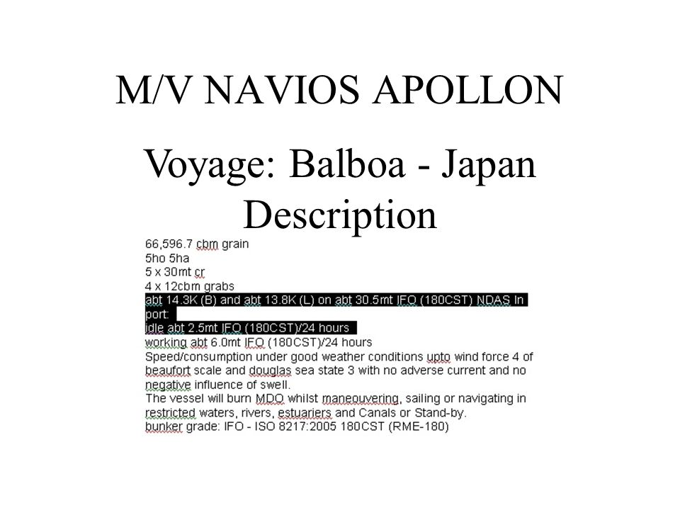 Voyage: Balboa - China Description M/V PLEASANT SKY