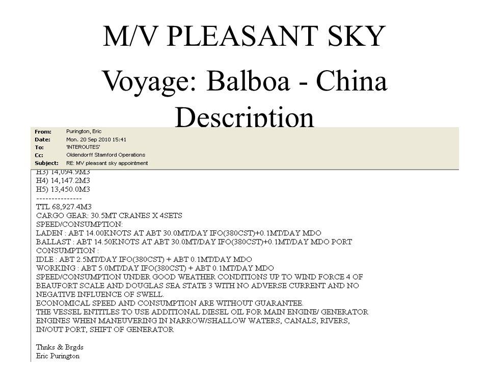 Voyage: Balboa - China Description M/V PLEASANT SKY