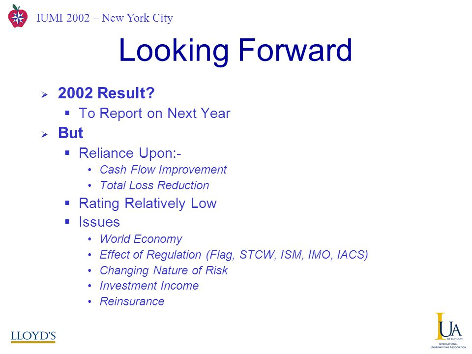 IUMI 2002 – New York City Looking Forward  2002 Result.