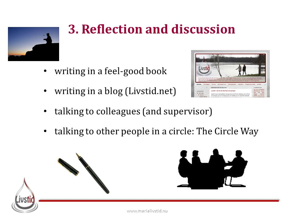 3. Reflection and discussion writing in a feel-good book writing in a blog (Livstid.net) talking to colleagues (and supervisor) talking to other peopl