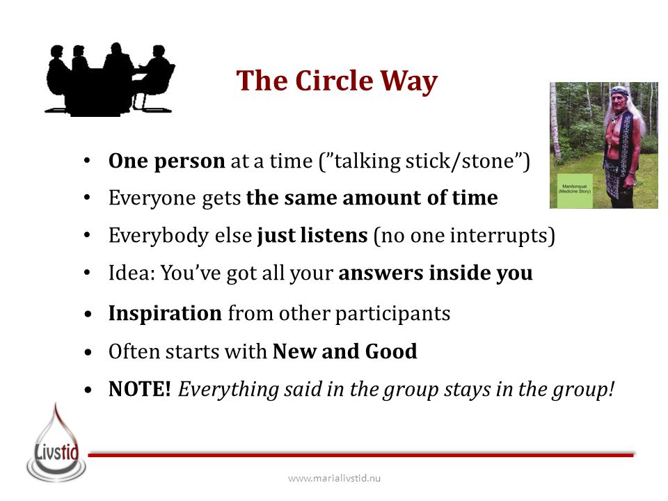 "The Circle Way One person at a time (""talking stick/stone"") Everyone gets the same amount of time Everybody else just listens (no one interrupts) Idea"