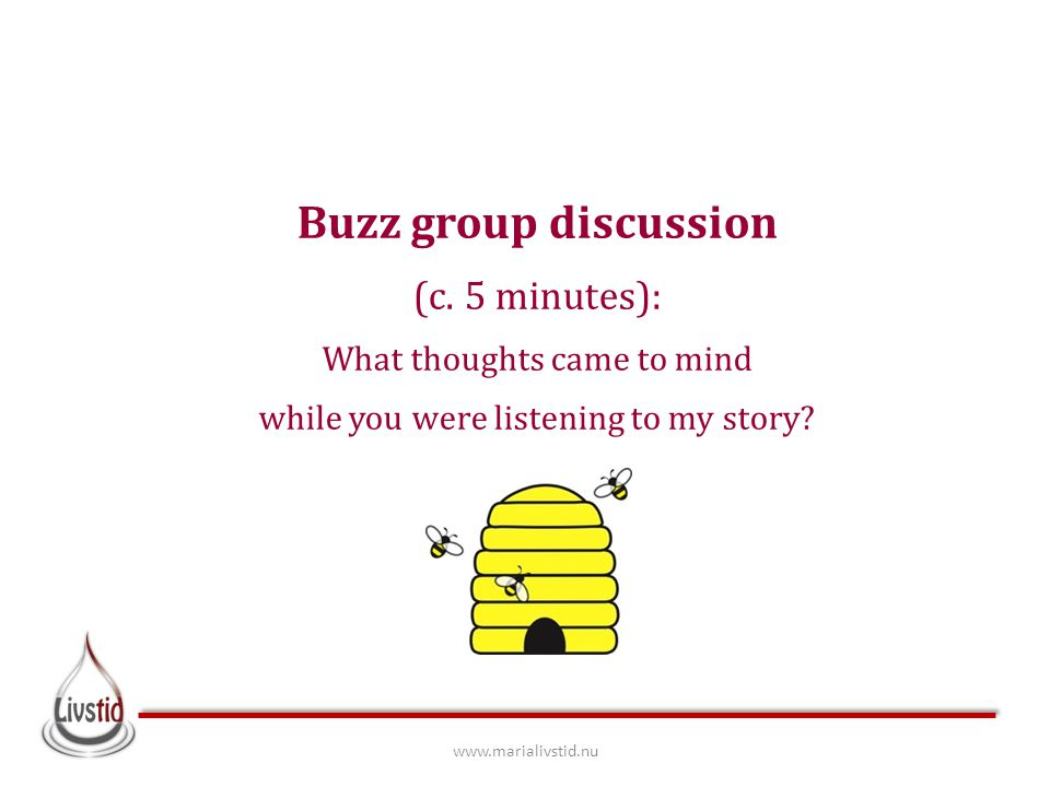 Buzz group discussion (c. 5 minutes): What thoughts came to mind while you were listening to my story? www.marialivstid.nu