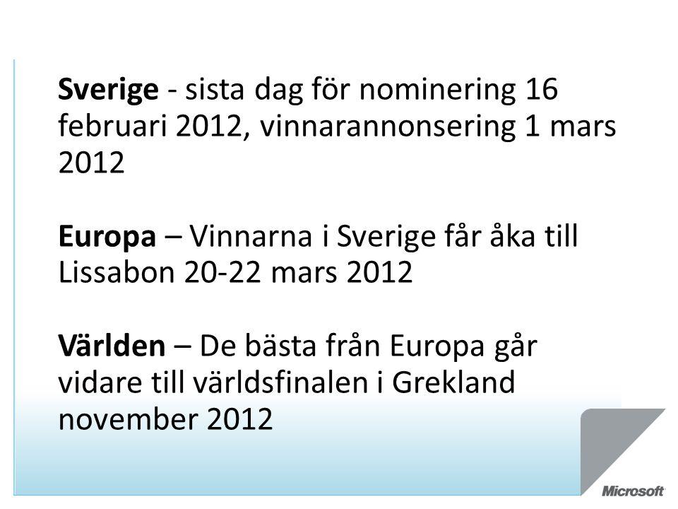 Sverige - sista dag för nominering 16 februari 2012, vinnarannonsering 1 mars 2012 Europa – Vinnarna i Sverige får åka till Lissabon 20-22 mars 2012 Världen – De bästa från Europa går vidare till världsfinalen i Grekland november 2012