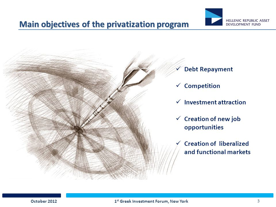 3 Main objectives of the privatization program 1 st Greek Investment Forum, New YorkOctober 2012 Debt Repayment Competition Investment attraction Creation of new job opportunities Creation of liberalized and functional markets