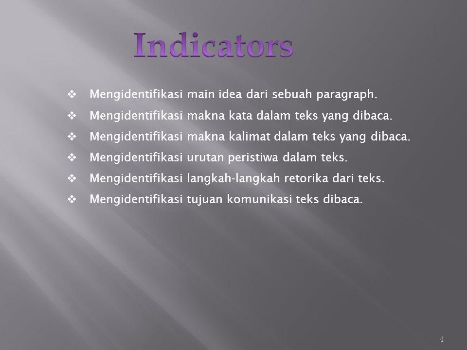  Mengidentifikasi main idea dari sebuah paragraph.