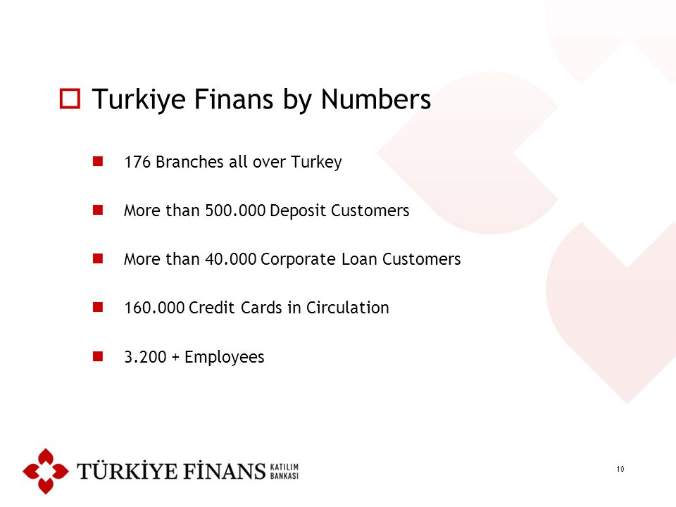 10  Turkiye Finans by Numbers 176 Branches all over Turkey More than 500.000 Deposit Customers More than 40.000 Corporate Loan Customers 160.000 Cred