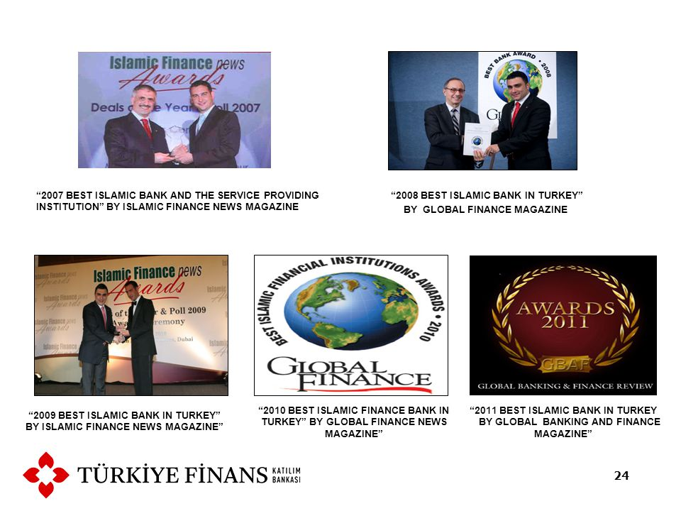 2008 BEST ISLAMIC BANK IN TURKEY BY GLOBAL FINANCE MAGAZINE 2007 BEST ISLAMIC BANK AND THE SERVICE PROVIDING INSTITUTION BY ISLAMIC FINANCE NEWS MAGAZINE 24 2009 BEST ISLAMIC BANK IN TURKEY BY ISLAMIC FINANCE NEWS MAGAZINE 2010 BEST ISLAMIC FINANCE BANK IN TURKEY BY GLOBAL FINANCE NEWS MAGAZINE 2011 BEST ISLAMIC BANK IN TURKEY BY GLOBAL BANKING AND FINANCE MAGAZINE