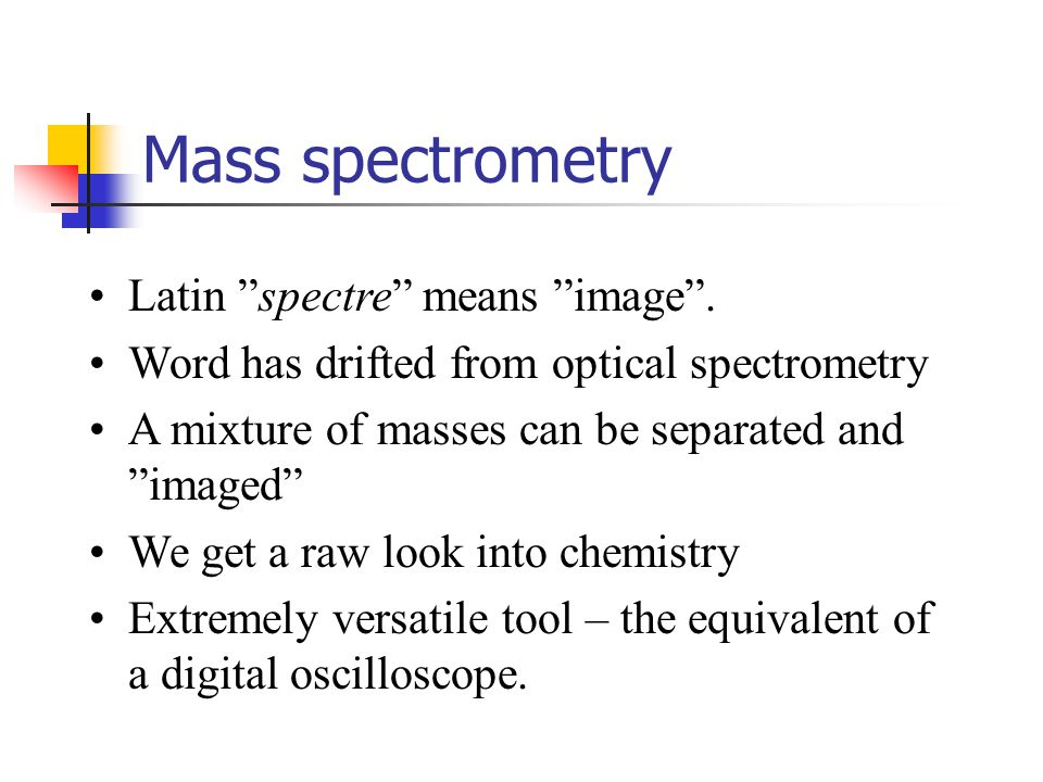 Mass spectrometry Latin spectre means image .