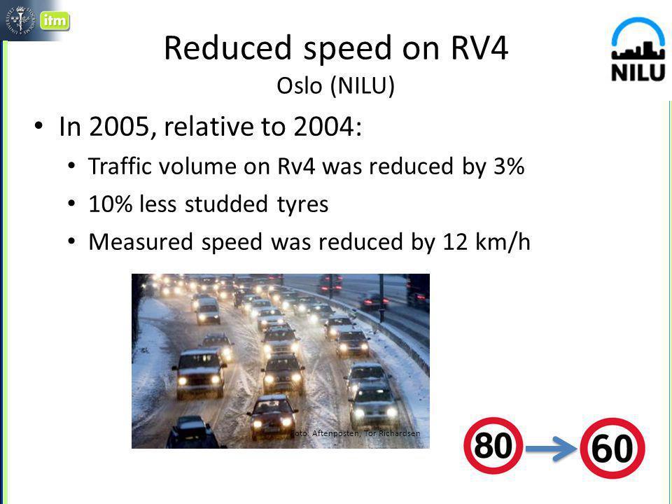 Studded tyre influence on emissions in street canyons ~40% lägre emissioner under Jan-Mar Samband mellan PM10 halter och dubbandel: Veckomedelvärden av PM10 halterna som funktion av dubbandelen Okt –Dec 2003 ~15-20 % lägre emissioner under hela året