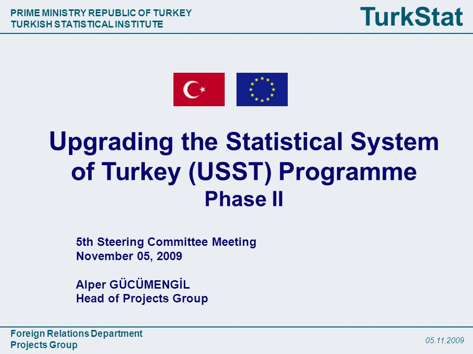 PRIME MINISTRY REPUBLIC OF TURKEY TURKISH STATISTICAL INSTITUTE Foreign Relations Department Projects Group TurkStat th Steering Committee Meeting November 05, 2009 Alper GÜCÜMENGİL Head of Projects Group U pgrading the Statistical System of Turkey (USST) Programme Phase II