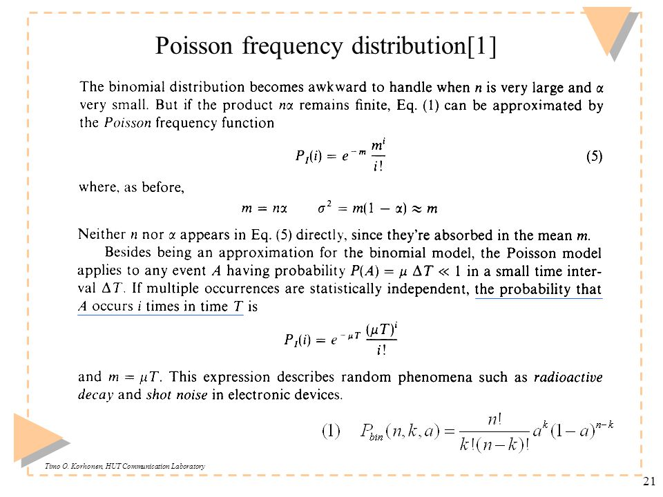 Timo O. Korhonen, HUT Communication Laboratory 21 Poisson frequency distribution[1]