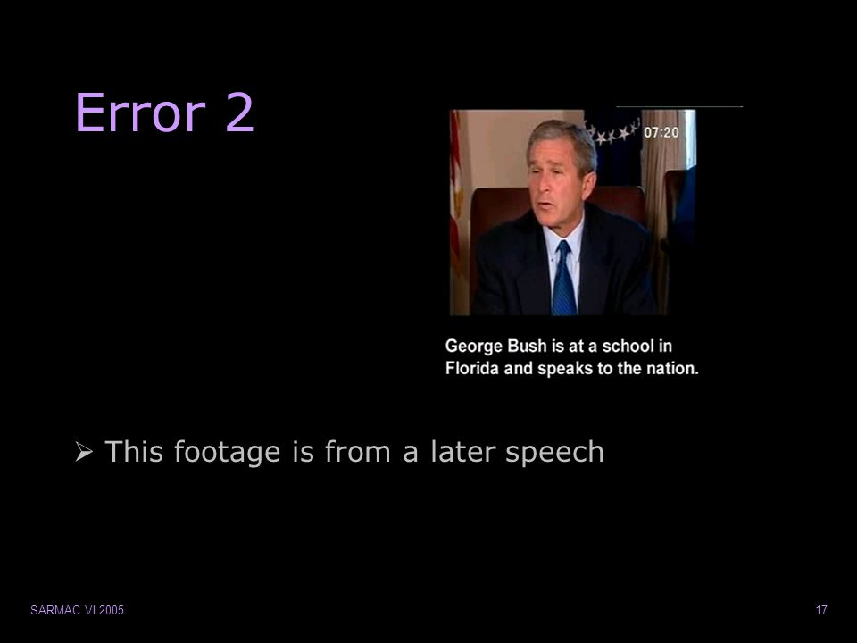 SARMAC VI 200517 Error 2  This footage is from a later speech