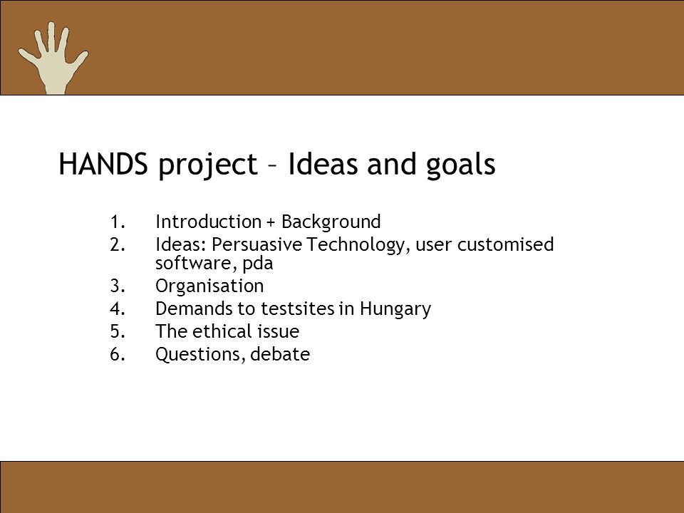 HANDS project – Ideas and goals 1.Introduction + Background 2.Ideas: Persuasive Technology, user customised software, pda 3.Organisation 4.Demands to