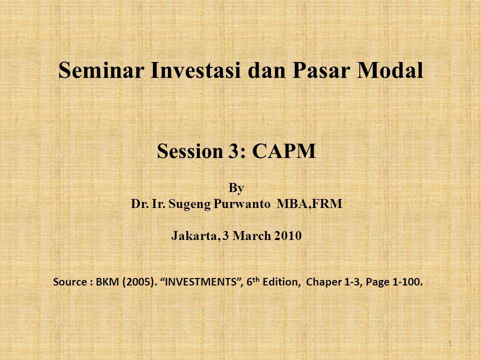 Seminar Investasi dan Pasar Modal Session 3: CAPM By Dr.
