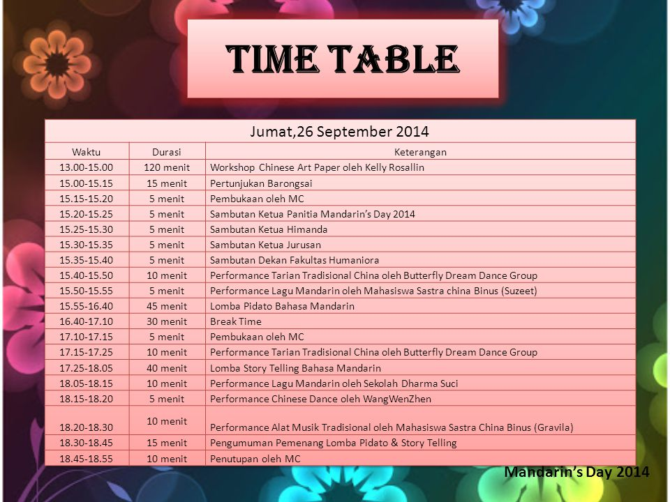 Time Table Mandarin's Day 2014