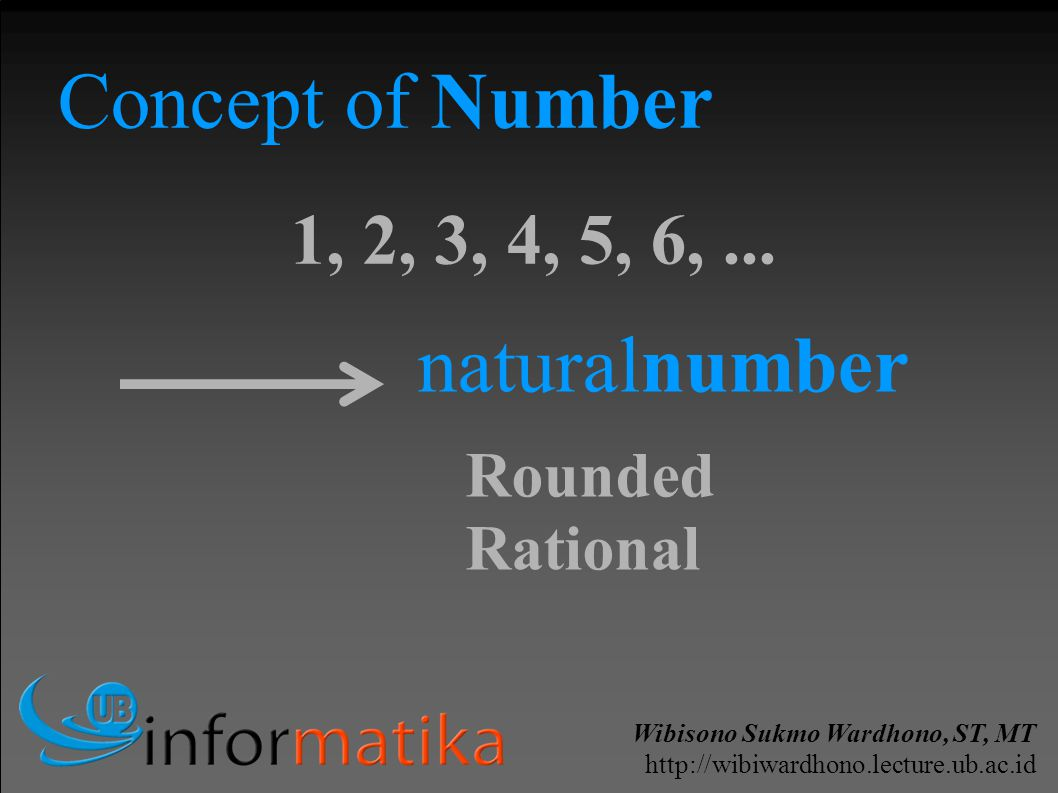 Wibisono Sukmo Wardhono, ST, MT http://wibiwardhono.lecture.ub.ac.id Concept of Number 1, 2, 3, 4, 5, 6,... naturalnumber Rounded Rational