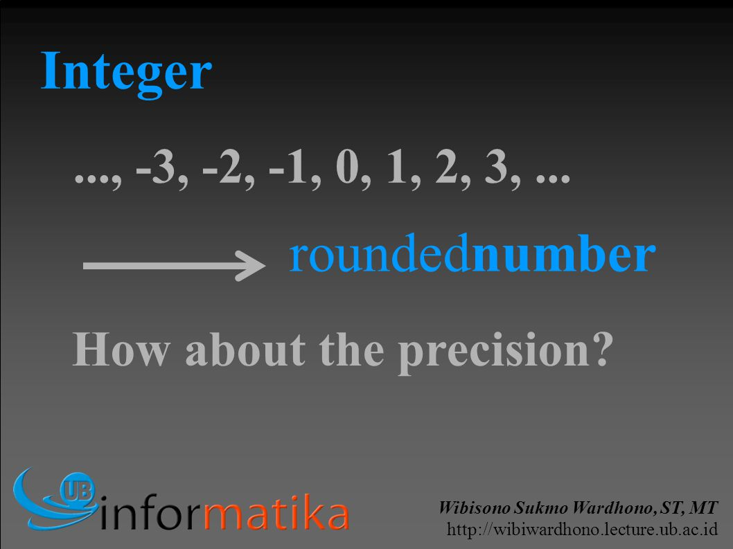 Wibisono Sukmo Wardhono, ST, MT http://wibiwardhono.lecture.ub.ac.id Integer..., -3, -2, -1, 0, 1, 2, 3,... roundednumber How about the precision?