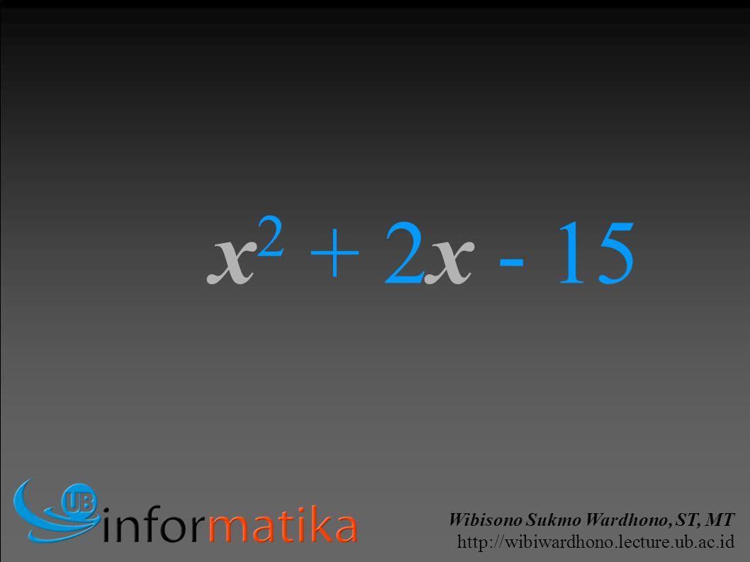 Wibisono Sukmo Wardhono, ST, MT http://wibiwardhono.lecture.ub.ac.id x 2 + 2x - 15