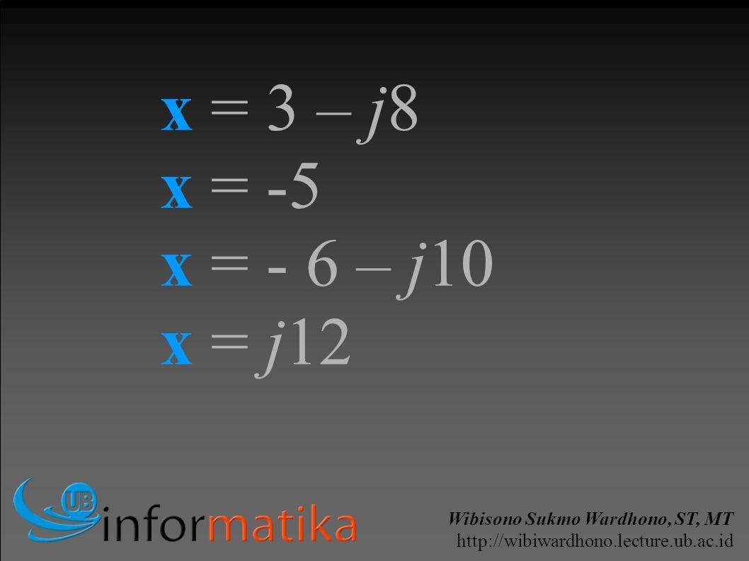 Wibisono Sukmo Wardhono, ST, MT http://wibiwardhono.lecture.ub.ac.id x = 3 – j8 x = -5 x = - 6 – j10 x = j12