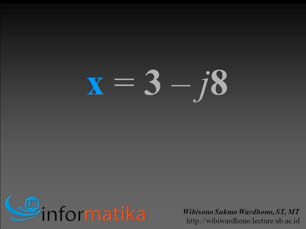 Wibisono Sukmo Wardhono, ST, MT http://wibiwardhono.lecture.ub.ac.id x = 3 – j8