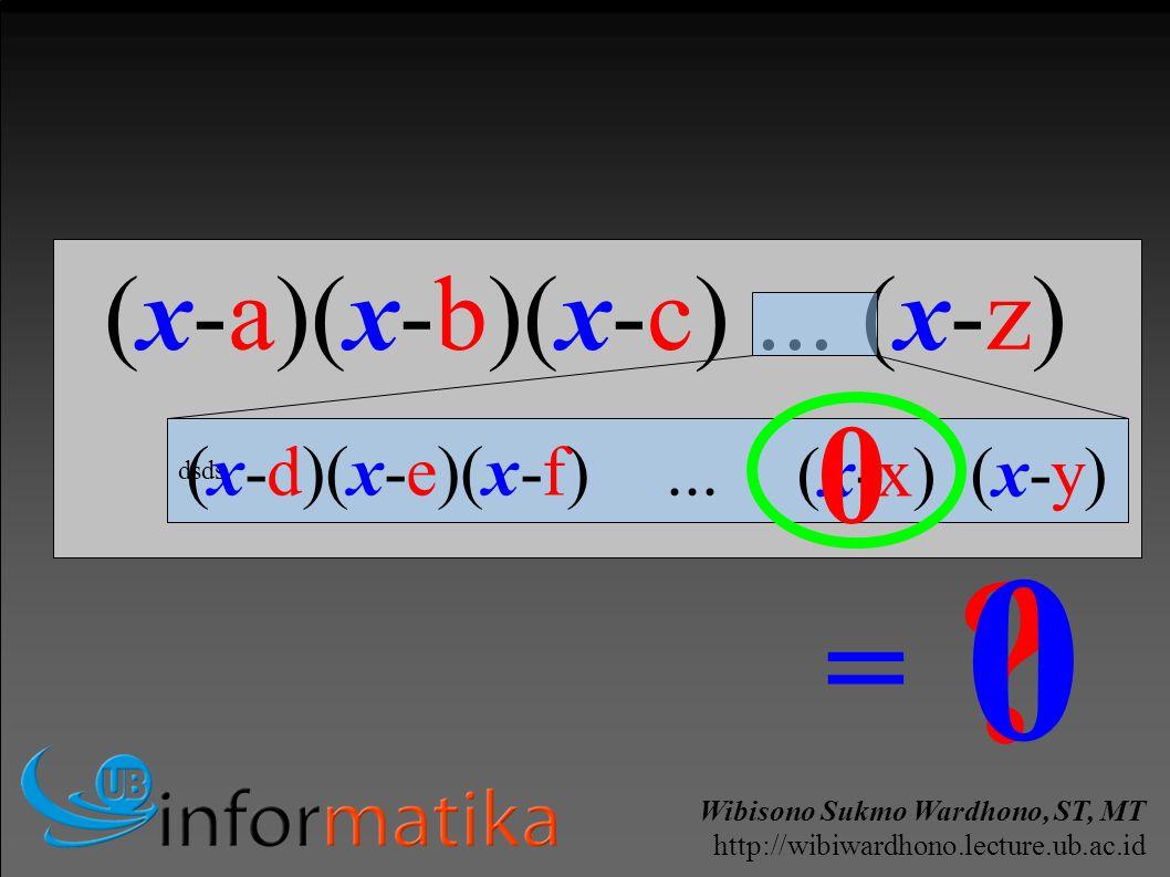 Wibisono Sukmo Wardhono, ST, MT http://wibiwardhono.lecture.ub.ac.id (x-a)(x-b)(x-c)...