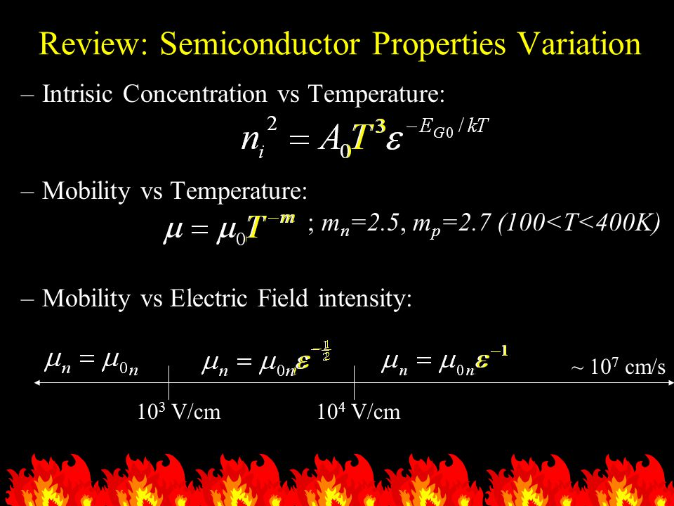 Review: Semiconductor Properties Variation –Intrisic Concentration vs Temperature: –Mobility vs Temperature: ; m n =2.5, m p =2.7 (100<T<400K) –Mobili
