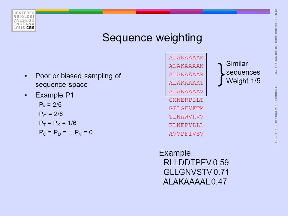 CENTER FOR BIOLOGICAL SEQUENCE ANALYSISTECHNICAL UNIVERSITY OF DENMARK DTU Sequence weighting ALAKAAAAM ALAKAAAAN ALAKAAAAR ALAKAAAAT ALAKAAAAV GMNERPILT GILGFVFTM TLNAWVKVV KLNEPVLLL AVVPFIVSV