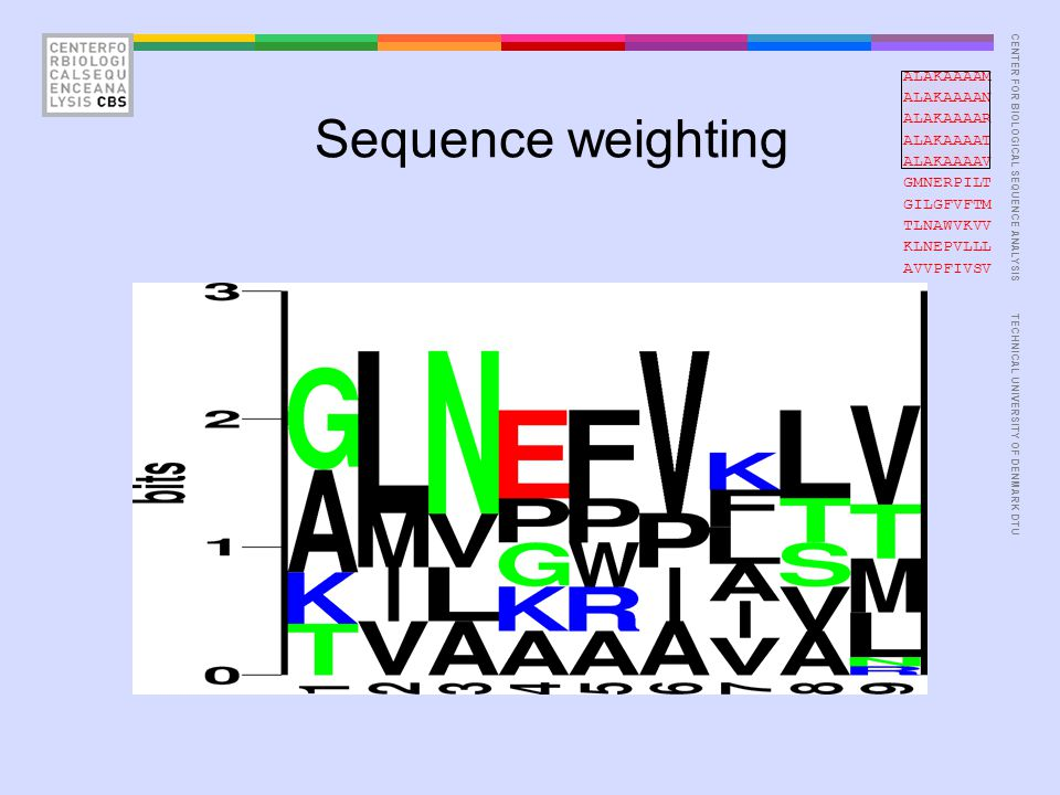 CENTER FOR BIOLOGICAL SEQUENCE ANALYSISTECHNICAL UNIVERSITY OF DENMARK DTU Pseudo counts ALAKAAAAM ALAKAAAAN ALAKAAAAR ALAKAAAAT ALAKAAAAV GMNERPILT GILGFVFTM TLNAWVKVV KLNEPVLLL AVVPFIVSV I is not found at position P9.