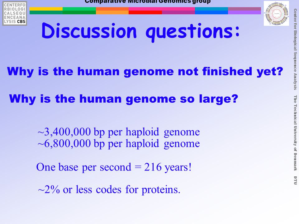 Center for Biological Sequence Analysis The Technical University of Denmark DTU Comparative Microbial Genomics group Why is the human genome so large.